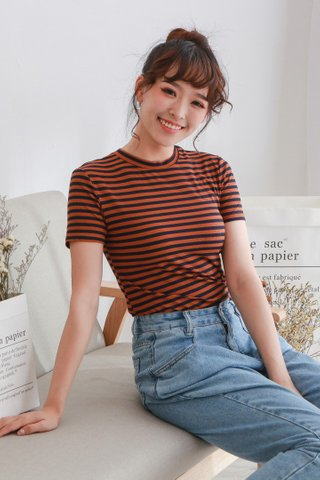 Elastic Knit Stripe Crop Top