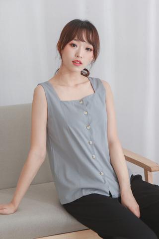 Basic Button Up Vest Grey
