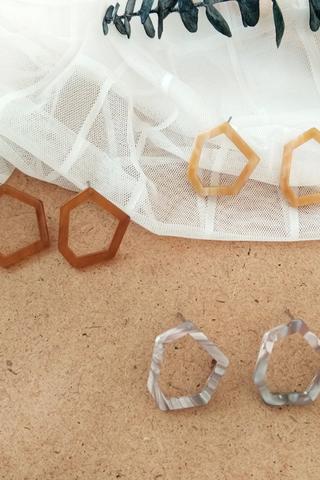 Acetate Hexagon Earrings