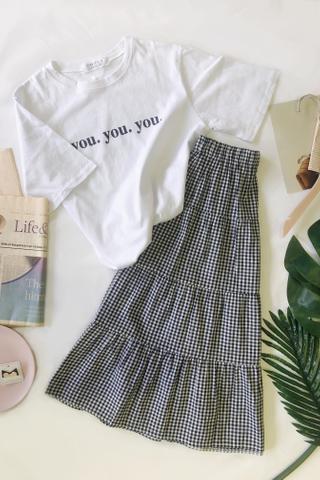 Midi Flare Plaid Skirt