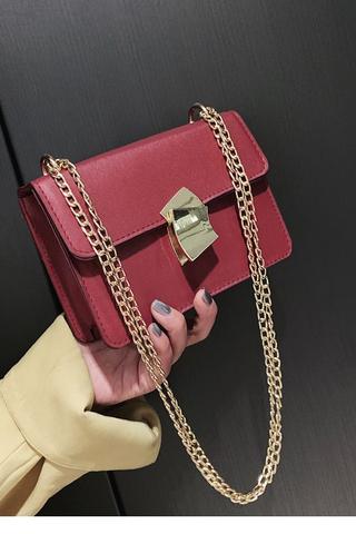 Red Gold Clip Sling Bag