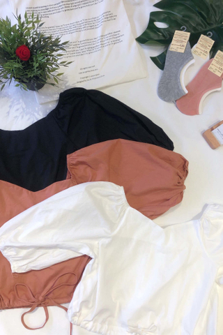 V-neck Puff Sleeves Crop Top