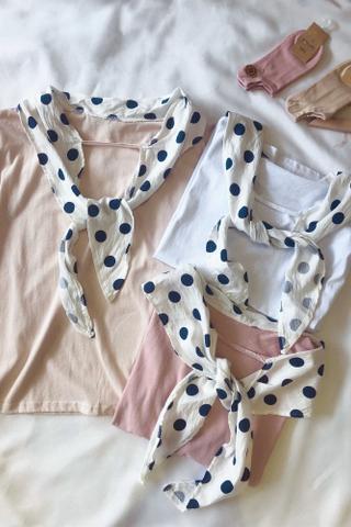 Polka-Dots Tie Front Shirt