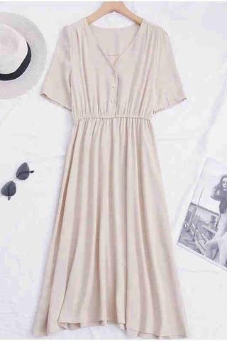 V-neck Button Dress