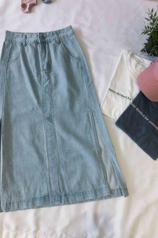 Denim Front Split Hem Skirt
