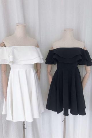 Off Shoulder Ruffled Midi  Dress