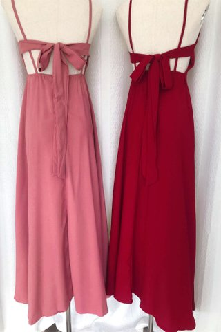 Back Ribbon Solid color dress